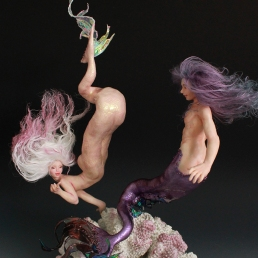 Merman Mermaid couple craft art doll sculpture